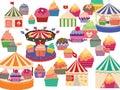 Circus big tops and cupcakes. Royalty Free Stock Photo