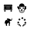 Circus carnival amusement park. Simple Related Vector Icons
