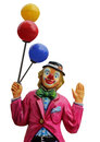 Circus clown with balloons model of isolated on a white background Royalty Free Stock Photos