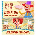 Circus Clown Horizontal Banners Template Vector. Great Circus Show Concept. Amusement Park Party. Carnival Festival