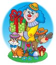 Circus clown with pets Stock Photography