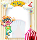 A circus entrance with a clown illustration of Stock Images