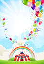 Circus festive background with rainbow and balloons Stock Photos