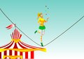 Circus girl on a rope juggler eps Royalty Free Stock Photos