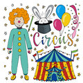 Circus hand drawn collection with colorful clown, balloon,  tent and magic rabbit. Happy birthday decorations for kids party Royalty Free Stock Photo