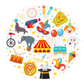 Circus icon set in round shape flat, cartoon style. Collection of elements with elephant, lion, Sealion, gun, clown