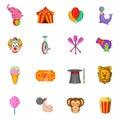Circus Icons set, cartoon style Royalty Free Stock Photo