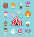 Circus icons set. Collection of elements of clown