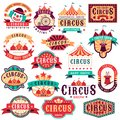 Circus labels. Vintage carnival show, circus signboard. Entertaining event festival. Paper invitation banner, arrow