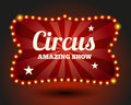 Circus lightbulb border vintage and entertainment red and event poster and advertisement vector illustration Stock Photos