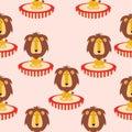 Circus lion illustration children pattern
