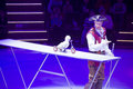 Circus number with bird artist performing a minsk belarus belorussian state ice show december th Stock Photo