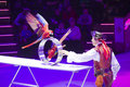 Circus number with birds artist performing a minsk belarus belorussian state ice show december th Stock Photography