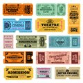 Circus, party and cinema vector vintage admission tickets templates Royalty Free Stock Photo