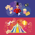 Circus performance banner magic show circus tent Royalty Free Stock Photo