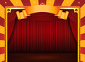 Circus Poster With Stage And Red Curtains Royalty Free Stock Photo
