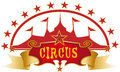 Circus red design a label with a big top Royalty Free Stock Image