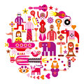 Circus ring round vector illustration show on white background set of isolated icons Royalty Free Stock Photos