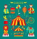 Circus set with clowns, elephant, lion, carousel , bike and rabbit in hat.