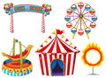 Circus set with rides and tent