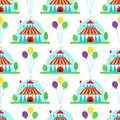 Circus show entertainment tent marquee outdoor festival with stripes flags carnival seamless pattern background vector Royalty Free Stock Photo