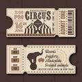Circus show horizontal tickets vector templates
