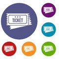 Circus show tickets icons set