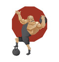 Circus strong mag lift a weight illustration of cartoon character of mighty man done in edged geometric style smiling man of Stock Photos