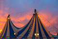 Circus tent in a dramatic sunset sky colorful Royalty Free Stock Photo
