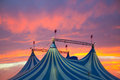 Circus tent in a dramatic sunset sky colorful Royalty Free Stock Images