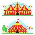 Circus show entertainment tent marquee outdoor festival with stripes flags carnival vector illustration. Royalty Free Stock Photo