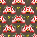 Circus show entertainment tent marquee outdoor festival seamless pattern with stripes and flags carnival Royalty Free Stock Photo