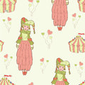 Circus tent pattern with and doll Royalty Free Stock Image