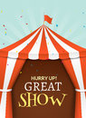 Circus tent poster. Circus retro invitation event. Fun carnival vector illustration. Royalty Free Stock Photo