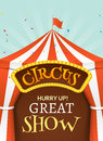 Circus tent poster. Circus retro invitation event. Fun carnival vector illustration. Amusement performance Royalty Free Stock Photo