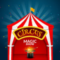 Circus tent poster. Circus retro sign invitation event. Fun carnival vector illustration. Amusement performance Royalty Free Stock Photo
