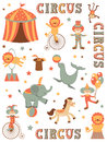 Circus in town colorful illustration of tent Stock Photos