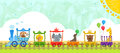 Circus train with background cute baby animals and a decorative eps Stock Images