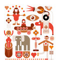 Circus vector illustration show color isolated icons on white background Royalty Free Stock Image
