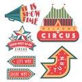 Circus vintage signboard labels banner vector illustration entertaining ticket sign