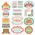 Circus vintage signboard labels banner vector illustration on white entertaining banner sign