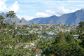 Cirque of Cilaos and city on La Reunion Island Royalty Free Stock Photo