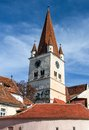 Cisnadie church tower transylvania romania watchtower of evangelical in built by saxons Stock Photography