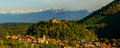 Cisnadioara village in transylvania romania panorama with Stock Photos