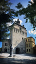 Citadella clock tower of segesvar sighisoara transylvania antique street water tap in front with m high what was built in the th Royalty Free Stock Photography