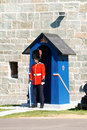 The citadelle of quebec city in canada august a soldier from royal nd regiment with gun stands front a sentry box near entrance Stock Photos