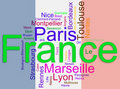 Cites of france wordcloud Stock Photography