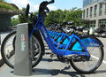 Citi bike station in lower manhattan new york august on august nyc share system started and brooklyn on may Stock Image