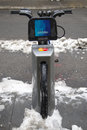 Citi bike under snow near times square in manhattan new york january on january nyc share system started and Royalty Free Stock Photos
