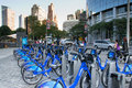 Citibike in new york city usa august the are bikes for rent to move the city of and there are many places where they can Stock Photo